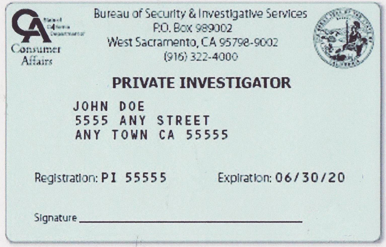 california PI license test at www.thePIgroup.com